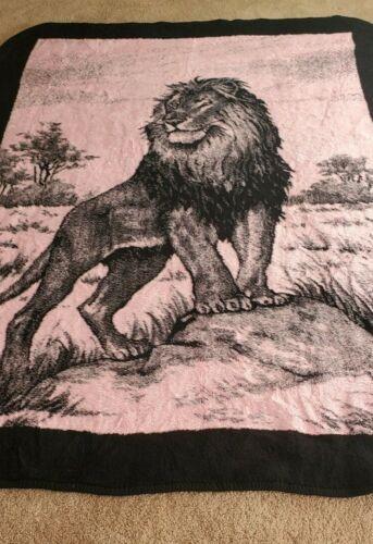 VINTAGE SAN MARCOS EL ORIGINAL LION REVERSIBLE BLANKET RARE PINK BLACK XLG 84X64