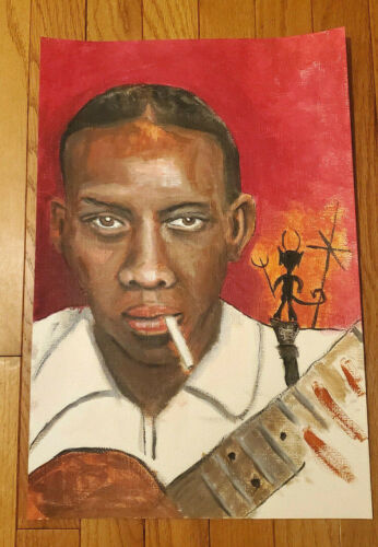 Robert Johnson Original Painting Blues Musician Outsider Folk Art