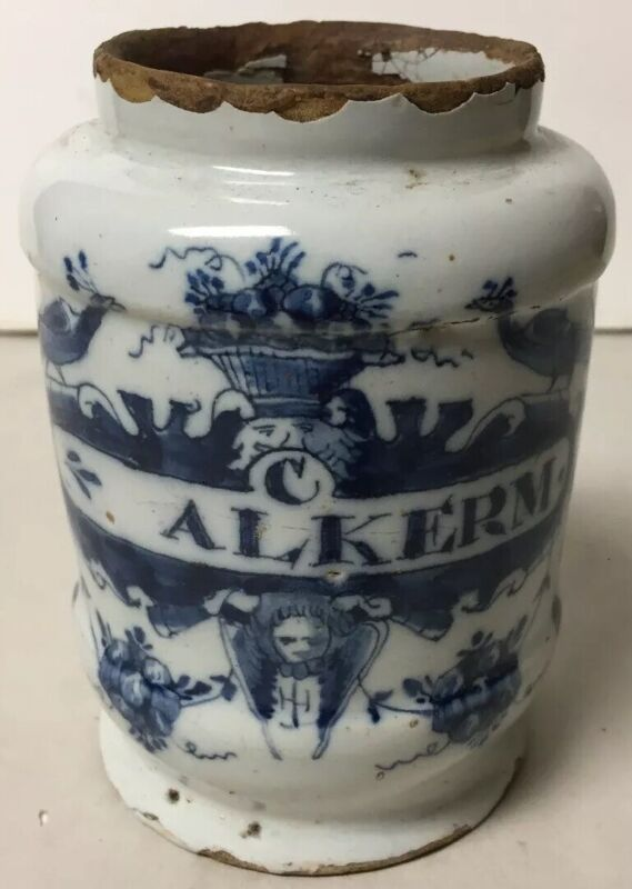 SMALL ANTIQUE 18th CENTURY HAND PAINTED FAIENCE APOTHECARY MEDICINE JAR ALKERM