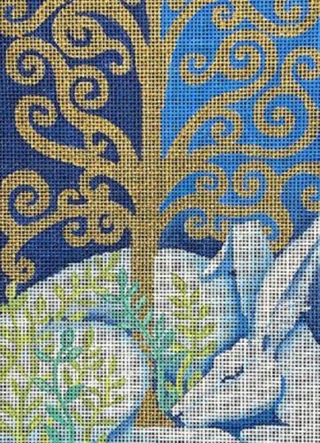 Needlepoint Handpainted Brenda Stofft Spiral Tree 5x7