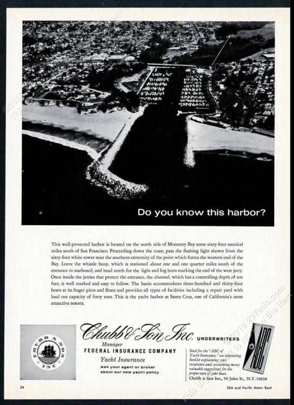 1969 Santa Cruz CA yacht harbor aerial photo Chubb insurance vintage print ad
