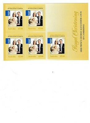 Australia. 2011 Royal Wedding Booklet.  Five $2.60 self-adhesive stamps.  Intern