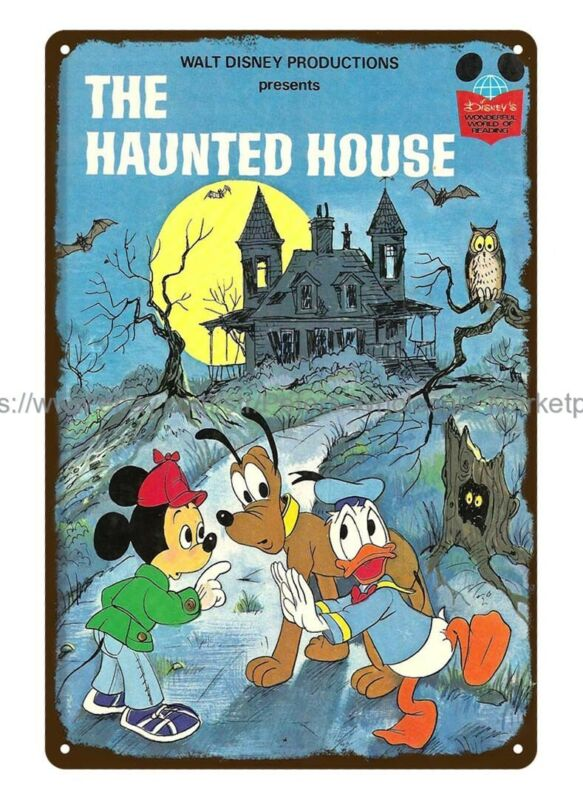 Mickey Mouse Donald Duck Pluto 1975 Disney Haunted House metal tin sign