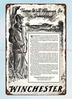 1942 WWII WINCHESTER Repeating Arms hunter rifle firearm metal tin sign