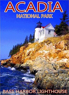 Acadia National Park Bass Harbor Lighthouse Maine Travel Advertisement Poster 1