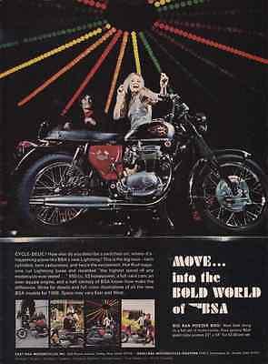 1968 BSA LIGHTING 650cc MOTORCYCLE  ~  VINTAGE ORIGINAL PRINT AD