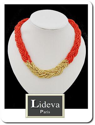 Collar Cadena Perlas Cristal Korallenperlen Trenzada Choker Blogger