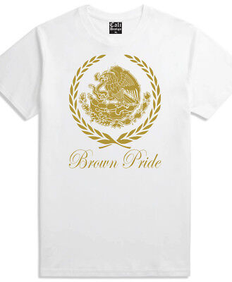 Gold Brown Pride T Shirt Mexican Roots Heritage Chicano Mexico Cholo White - Male Pride T-shirt
