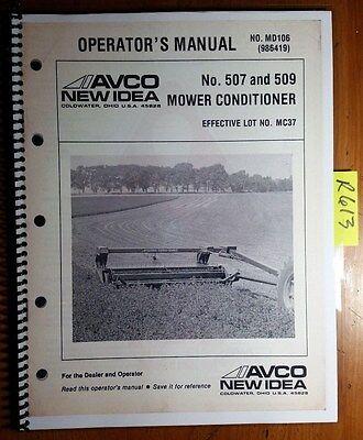 New Idea 507 509 Mower Conditioner Lot Mc37- Owners Operators Manual Md106 83