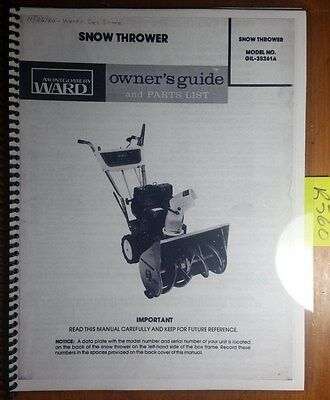 Montgomery Ward Gil-35261a 5 Hp Snow Thrower Owner Operator Parts Manual 680
