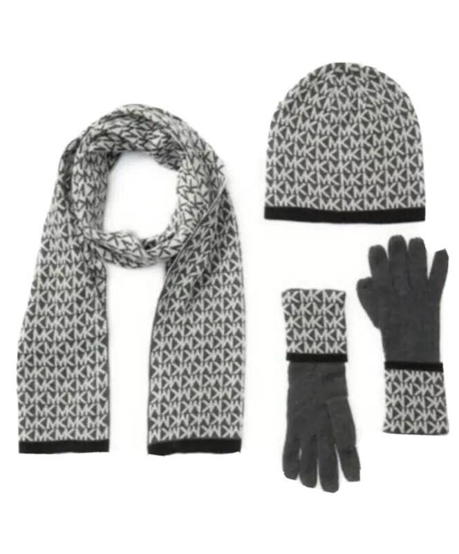 Michael Kors Womens 3 Pc Set MK Logo Scarf Hat & Gloves Dark Gray One Size NEW