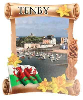 Tenby Puerto Rollo Welsh Recuerdo Imán de Nevera