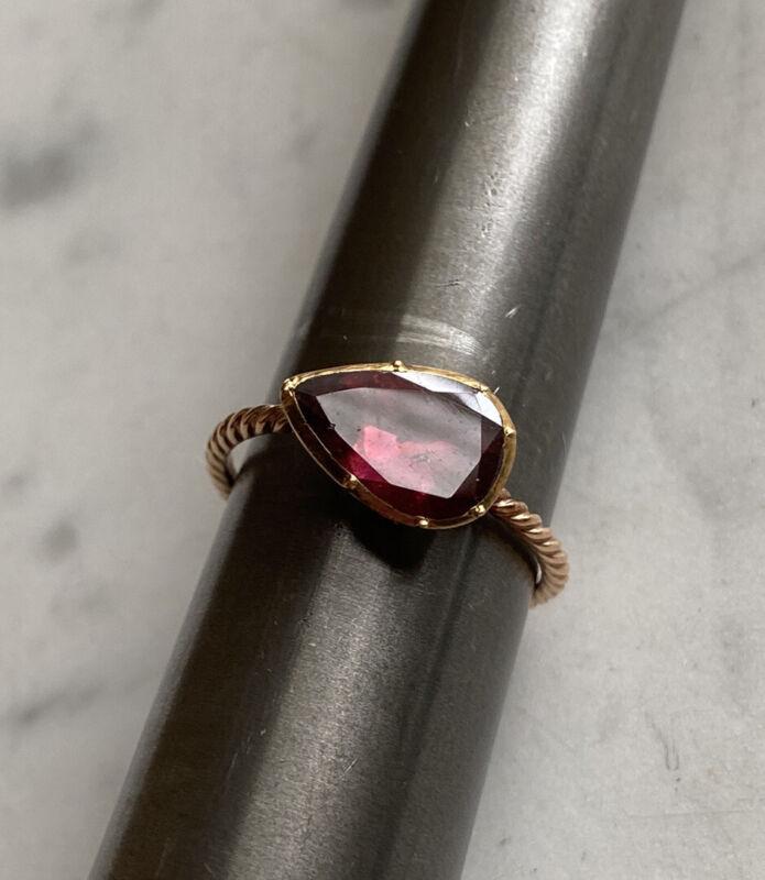 Amazing Antique 14k Georgian Foiled Flat Cut Garnet Pear Conversion Ring
