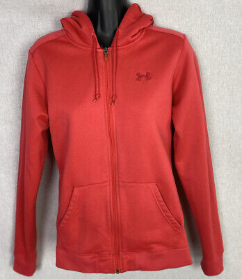 Women's Under Armour Red Full Zip Up Hoodie Size Medium Sweatshirt Pockets EUC