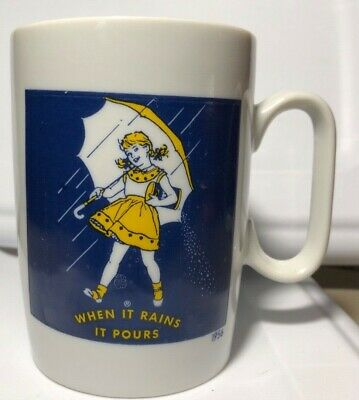 Vtg Morton Salt Girl 1956 Logo Coffee Mug Cup When It Rains It Pours Umbrella