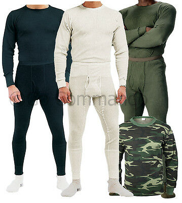 Thermal Knit Underwear Long Johns - Natural, Black, OD, Wood Camo - Super Warm!
