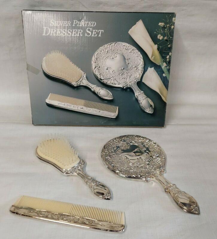Silver Plated 3 Piece Comb Brush Mirror Vanity Dresser Set Original Box Vintage