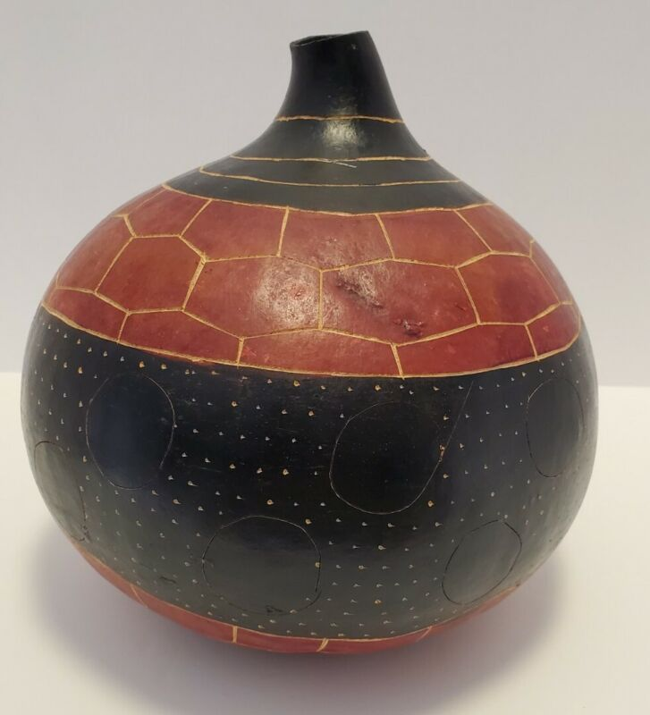 """Made in Kenya Africa Hand Made Carved Gourd bottle vase decor approx 9""""H x 8""""W"""