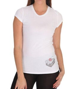 cache womens white cotton t shirt embellished crystals