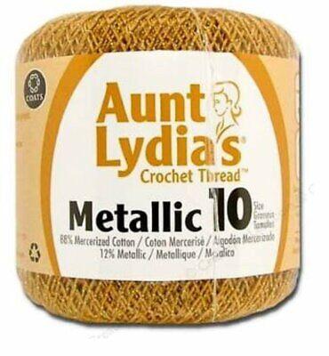 Coats Aunt Lydia's Crochet Cotton Thread Classic Size 10, Metallic Gold (154-090 Classic Crochet Cotton Thread