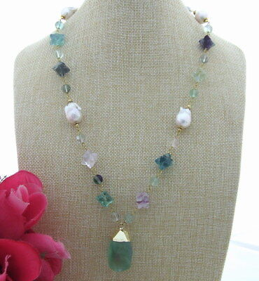 - S041706 Natural White Keshi Pearl Necklace Green Fluorite Pendant