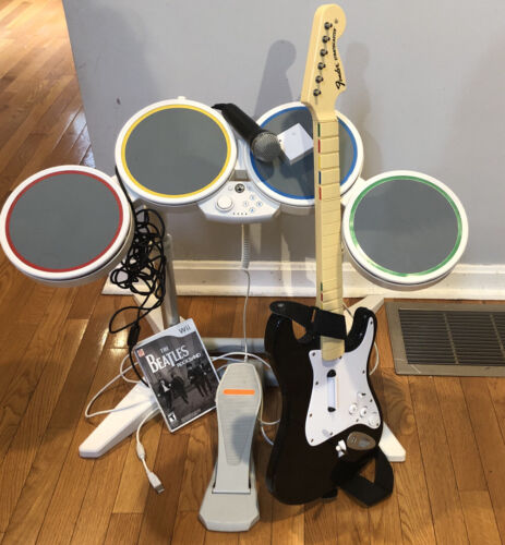 Wii ROCK BAND Bundle Set- Beatles- Drums Guitar W/ Dongle Game, Microphone. - $130.00