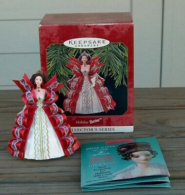 1997 Hallmark Holiday Barbie # 5 Christmas Ornament Red Ribbon Box QX16212
