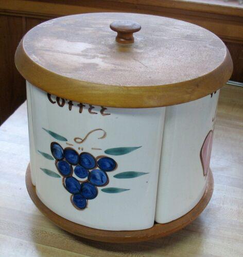 Vintage Ceramic Canister Set On Lazy Susan Midcentury Style Esmond Watt Pottery