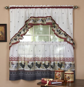 ROOSTER DESIGN BURGUNDY AND GREY CURTAINS AND SWAG SET