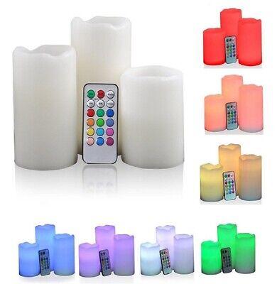 Candela Effetto Vera Cera Luce Led RGB Set 3 Candele Multicolori Con Telecomando