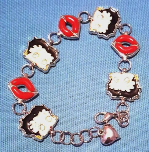 "Awesome 6.5"" Betty Boop Bracelet with Kiss Lips KFS/FS"