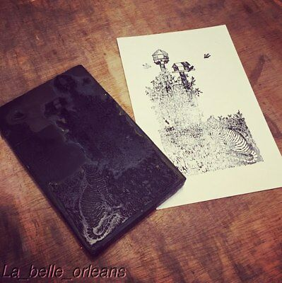 Rare. 1940s Signed Printing Block The Cat And The Birdhouse. R.landry. Large