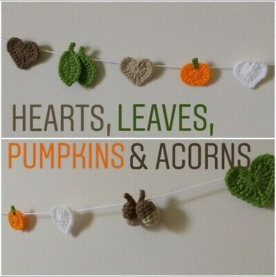 Autumn Leaves Pumpkin Halloween Bunting Garland Crochet Handmade Decor Gift