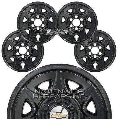 """4 GLOSS BLACK 2014-2018 Chevy Silverado 1500 17"""" Wheel Skins Hub Caps Rim Covers"""