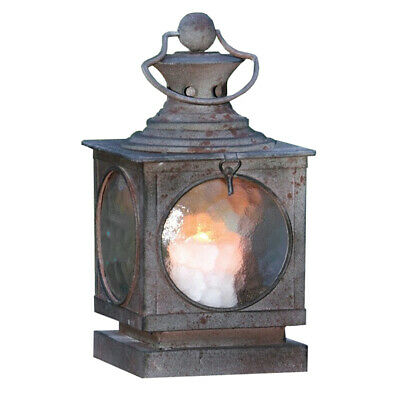 Metal Sqaure Hanging Candle Lantern, Curved Glass -