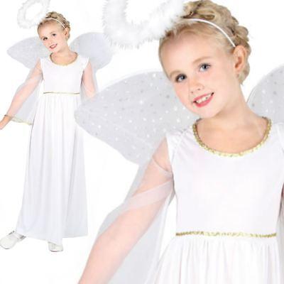 Girls Kids White Nativity Angel Xmas Christmas Fairy Fancy Dress Costume 3-13 ()