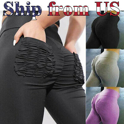Women's Push Up Fitness Leggings Pockets Sport Yoga Gym Pants Workout Trousers