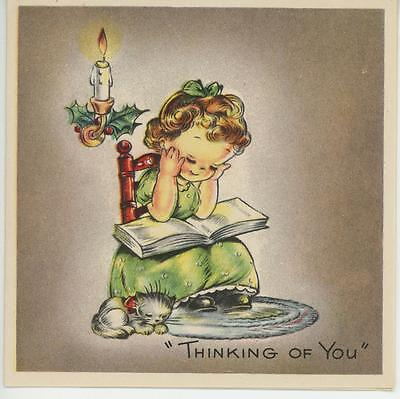 VINTAGE 1930's CHRISTMAS GIRL READING BOOK CAT CANDLE OLD FASHIONED CARD PRINT
