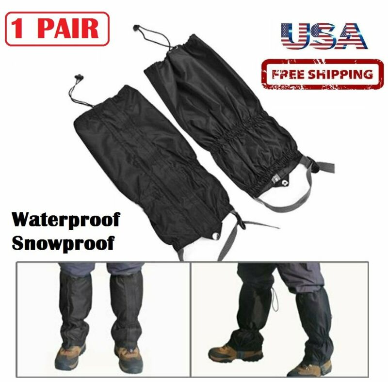 "Snowproof Waterproof Climbing Hiking Ski Gaiter Leg Cover Boot Legging 16"" Black"