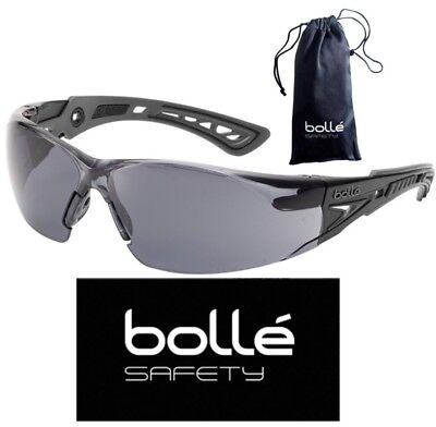Bolle 40208 Rush+ Safety Glasses with Black/Gray Temples and Smoke -
