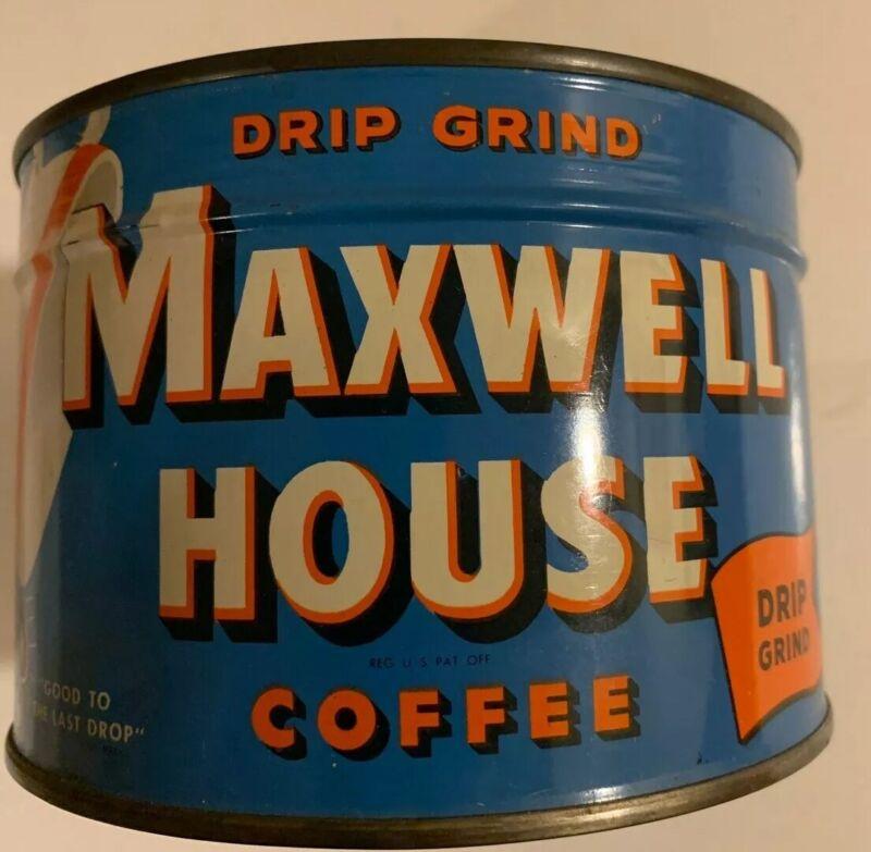 Vintage 1950s Unopened Maxwell Hous Regular Coffee Tin 1 Lb Key Wind Full Sealed