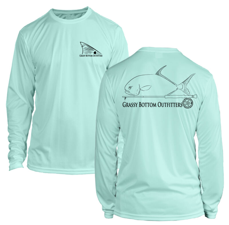 Microfiber Long Sleeve Permit Fly Fishing Shirt UPF50 - Seafoam Green