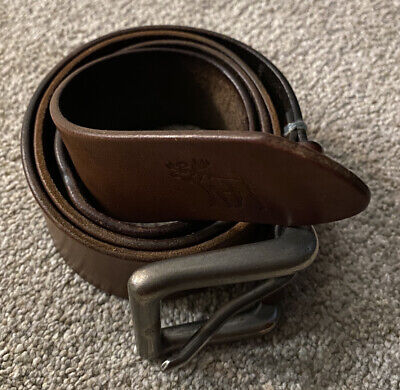 Abercrombie and Fitch men's leather belt 32 Brown Strap Vintage Look RARE ITEM