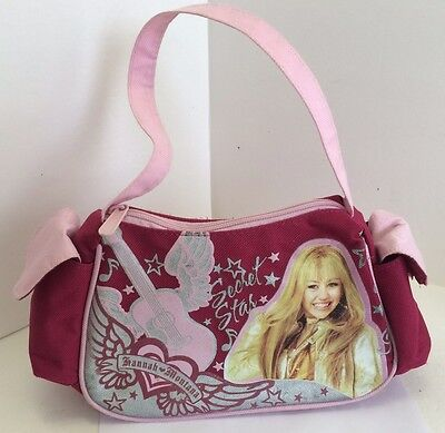Hannah Montana Secret Star Miley Cyrus Pink / Burgundy Girls Purse Handbag Used Hannah Montana Purse Handbag