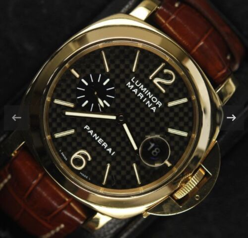 Panerai Luminor Marina PAM 140 / 00140 18K Solid Gold Mens Watch Full Set Extras - watch picture 1