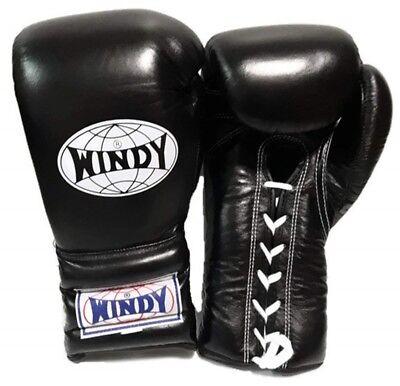 WINDY BOXING GLOVES LACE UP BGL BLACK 8,10,12,14,16,18,20 OZ. MUAY THAI  K1 MMA](Windy Boxing Gloves)
