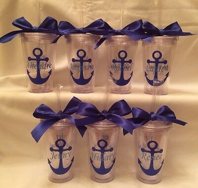 Anchor tumblers, Personalized acrylic tumbler 16oz, wedding party, girls getaway](Personalized Acrylic Tumblers)