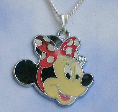 """MINNIE MOUSE NECKLACE 16"""" CHAIN GIRLS CHILDRENS COSTUME JEWELLERY IN GIFT BAG"""