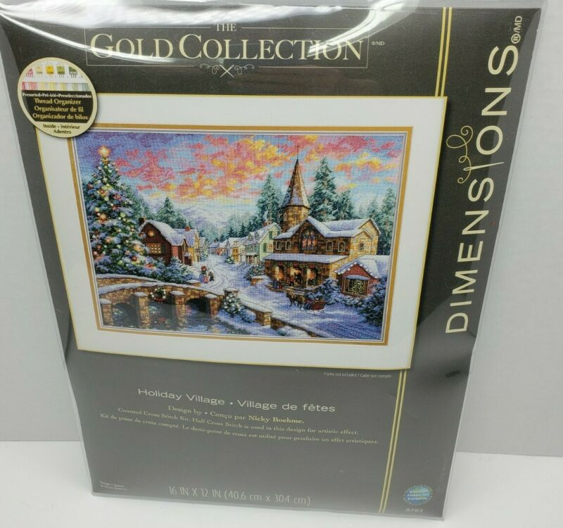 "Gold Collection Holiday Village Counted Cross Stitch Kit-16"" X12"" New"