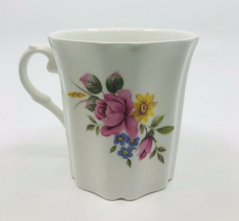ROYAL GRAFTON Fine Bone China Tea Cup England Rose Yellow Blue Flower MINT